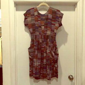 No 6 Silk Pattern Button Dress SZ 6